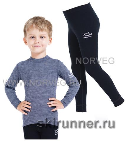 Комплект термобелья из шерсти мериноса Norveg Soft Blue Melange-Black детский