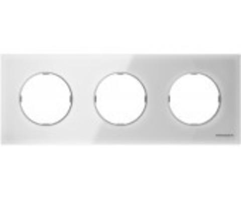 Рамка на 3 поста. Цвет Белое стекло. ABB(АББ). Skymoon(Скаймун). 2CLA867300A3001