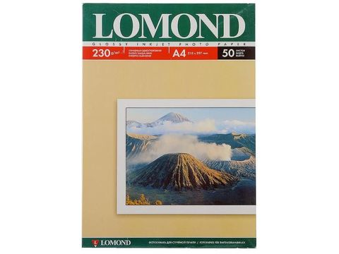 Односторонняя глянцевая фотобумага Lomond для струйной печати, A4, 230 г/м2, 50 листов (0102022)