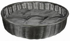 Trixie Лежак-корзина с матрасом, полиротанг, ф 60 см, антрацит