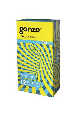 Презервативы Ganzo Ribs, с ребристой поверхностью, латекс, 18 см, 12 шт фото