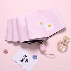 Женский облегченный зонт, с защитой от УФ, 8 спиц, принт- Ромашки (розовый)