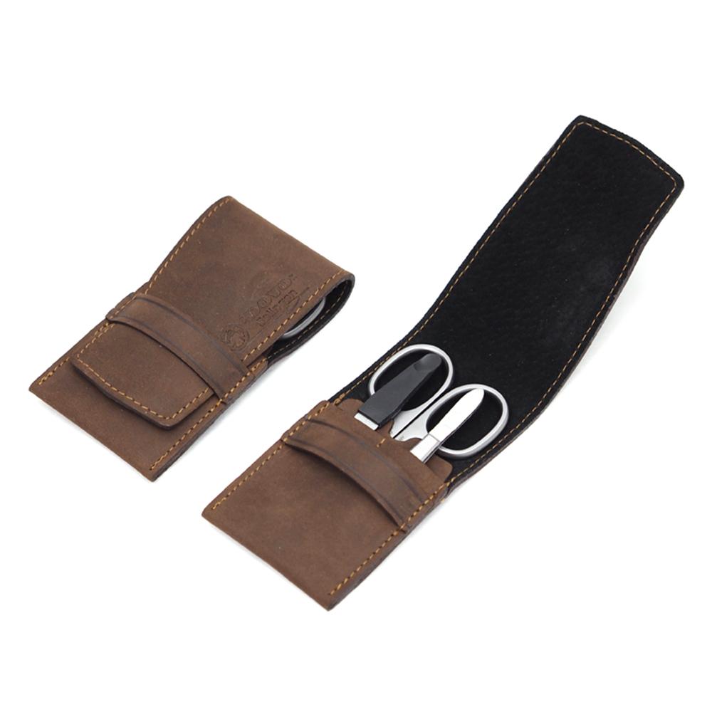 Маникюрный набор Dovo, 3 предмета, цвет коричневый, кожаный футляр