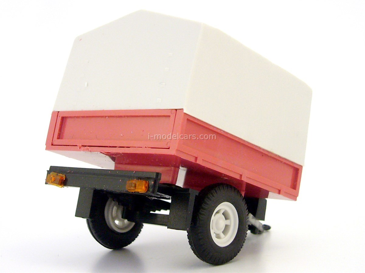 Trailer Bison board with awning red light gray for Lada Niva 1:43 Agat Mossar Tantal