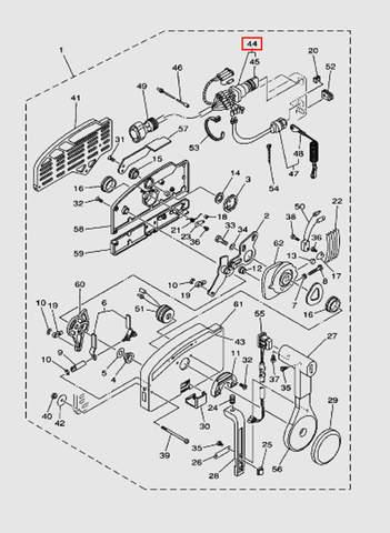 Замок зажигания в машинке газ-реверс с ключом для лодочного мотора T40 Sea-PRO (28-44)