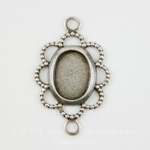 """Сеттинг - основа - коннектор """"Ажурный"""" (1-1) для камеи или кабошона 8х6 мм (оксид серебра) ()"""