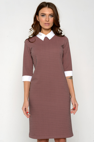 Элегантное платье пастельных тонов. Рукав 3/4 и приталенный силуэт - визуально стройнят. Комфортное, удобное платье на каждый день. (Длина: 46=101см; 48=103см; 50=104см; 52=106см;).