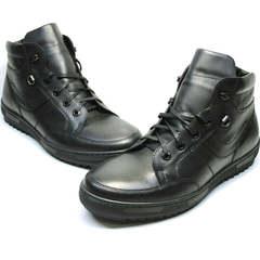 Модные ботинки мужские зимние кожаные Ikoc 1608-1 Sport Black.