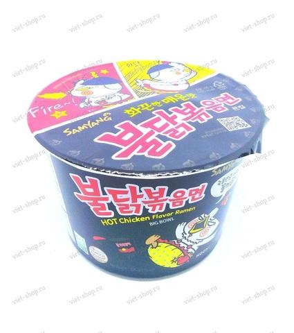 Корейская пшеничная лапша со вкусом острой курицы Samyang в чашке, 105 гр.