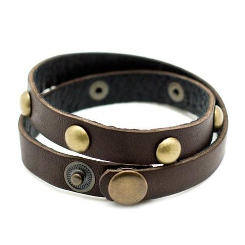 Мужской коричневый браслет намотка из натуральной кожи TRONIN N-34