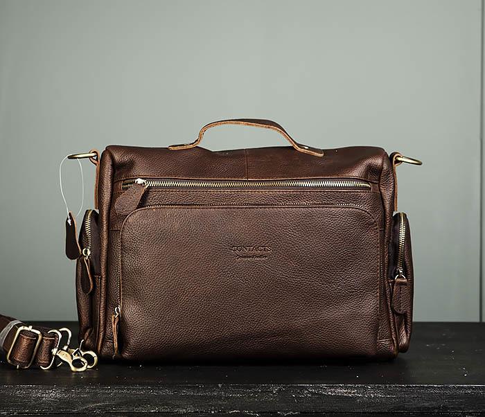 BAG466-2 Мужской портфель из натуральной кожи с ремнем фото 02