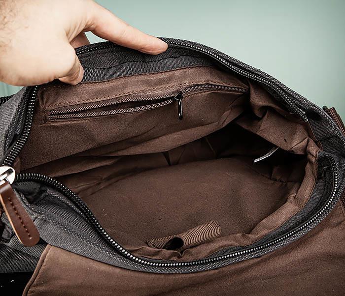 BAG504-1 Удобная городская сумка портфель из ткани серого цвета фото 13
