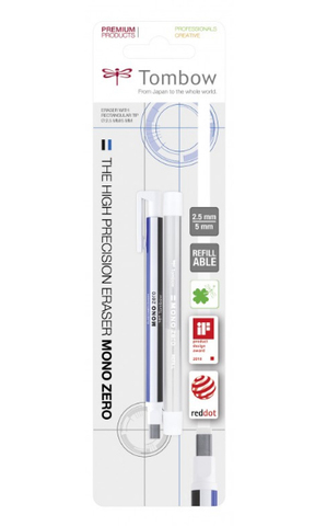 Ластик-ручка Tombow MONO Zero Eraser, с прямоугольным ластиком, бело-сине-черный