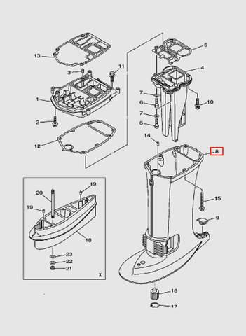 Корпус дейдвуда для лодочного мотора T40 Sea-PRO (22-8)