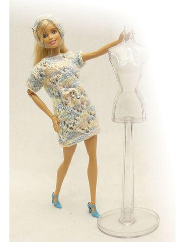 Вязаное платье - На кукле. Одежда для кукол, пупсов и мягких игрушек.