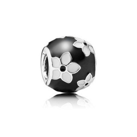 Silver Black and White Flower Charm