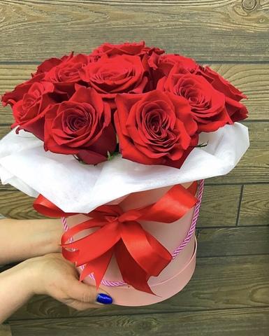 11 роз в шляпной коробке #1687