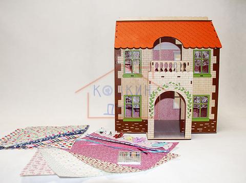 ЯиГрушка Дом с черепичной крышей с набором для изготовления штор и обоями