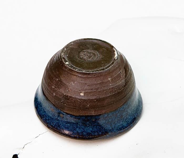 CUP111 Керамическая пиала ручной работы с глазурью синего цвета фото 04