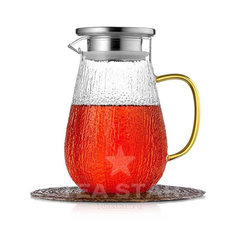 Кувшины, графины (для горячих и холодных напитков) Чайник-кувшин из рельефного стекла 1,2 л, жаростойкий стеклянный Kuvshin-dlia-soka-i-kokteiley-4-003-1000-teastar.jpg
