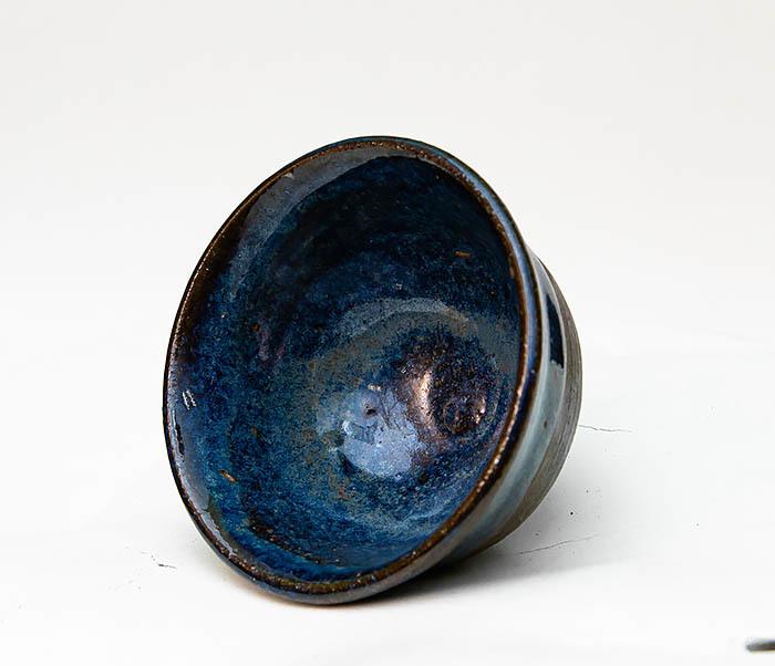 CUP111 Керамическая пиала ручной работы с глазурью синего цвета фото 05