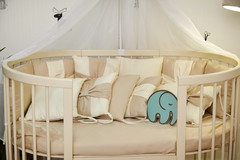 Комплект детского постельного белья Бантик с балхином в кроватку Крем-кофе