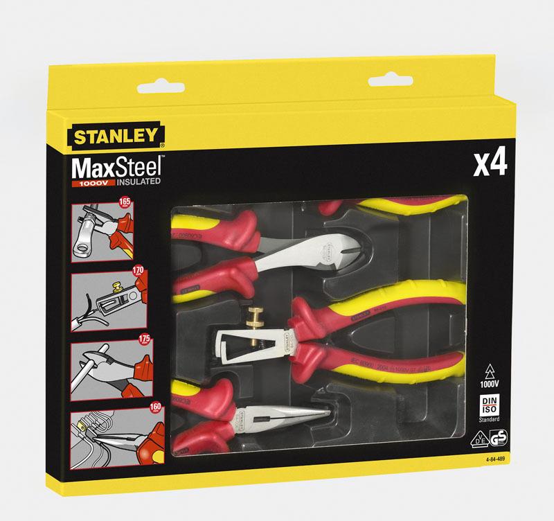 Набор из плоскогубцев и кусачек электрика VDE 1000V MaxSteel Stanley 4-84-489