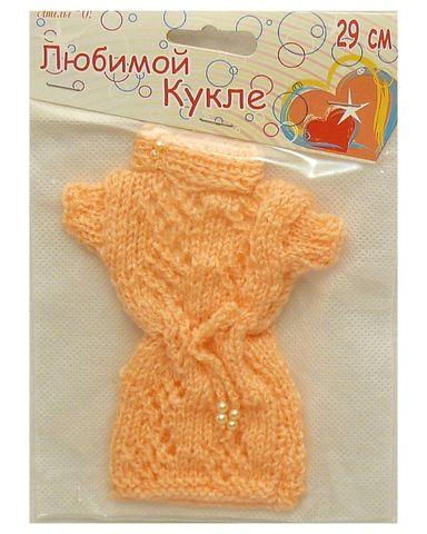Вязаное платье - Персик. Одежда для кукол, пупсов и мягких игрушек.