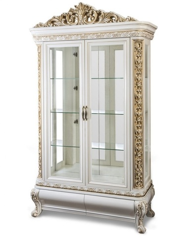 Шкаф-витрина АЛСУ  2-х створчатая крем глянец