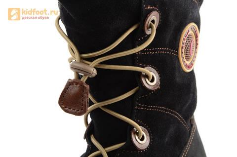 Зимние сапоги для мальчиков из натуральной кожи на меху Лель, цвет черный. Изображение 10 из 15.