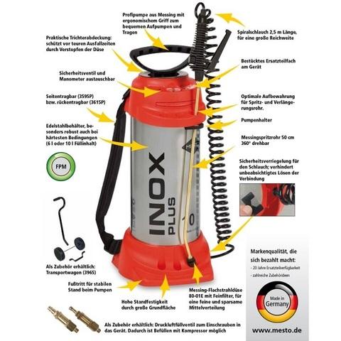 MESTO Распылитель ручной INOX PLUS 3595P, нерж. сталь, 6 л