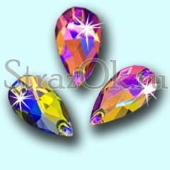 Стразы пришивные стеклянные Drope Rainbow AB, Капля Рэйнбоу АБ многоцветный с радужным покрытием