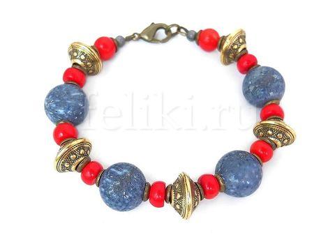 красно-синий браслет из кораллов_фото