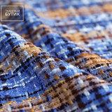 Синяя ткань в коричнево-песочную клетку