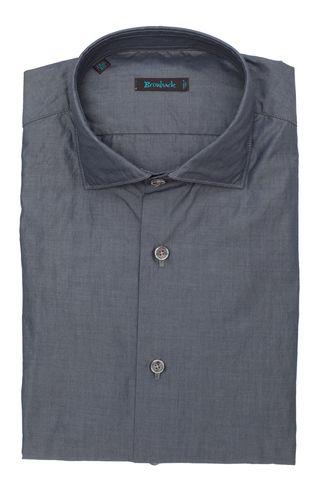 Стальная рубашка с пуговицами на розовых нитках