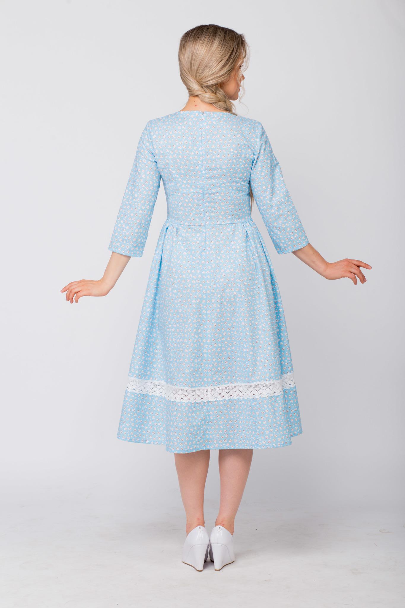 Платье хлопковое Кружевные маргаритки вид сзади