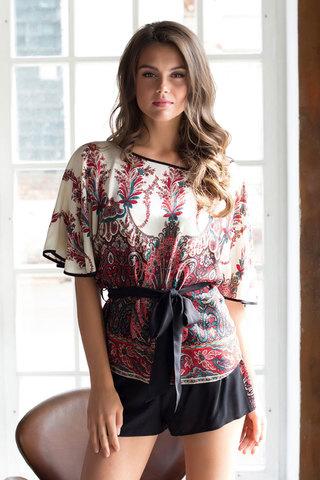 Красный женский красивый легкий домашний комплект из вискозы с шортами с поясом с принтом