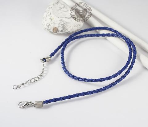PL261-4 Кожаный шнур с застежкой синего цвета (45 см)