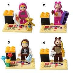 Minifigures Masha & The Bear Blocks Building