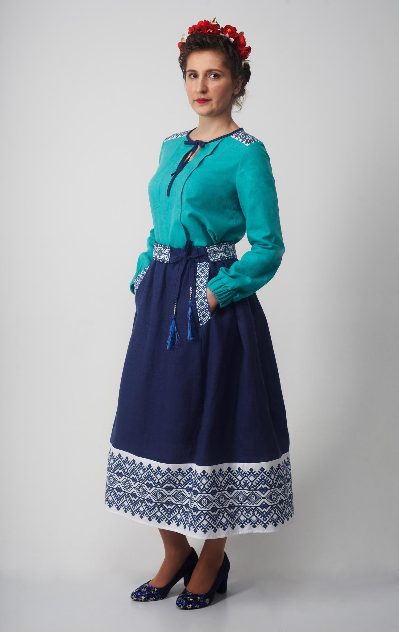 Блуза Самоцветы бирюза полный рост с юбкой