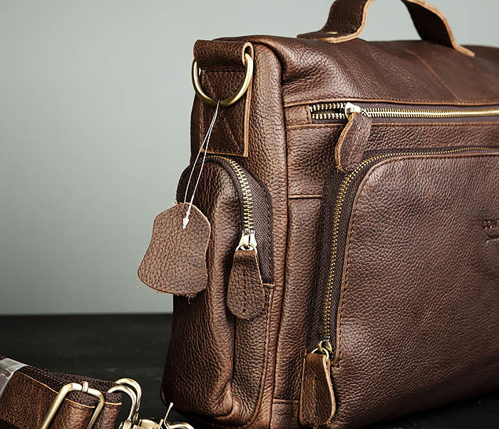 BAG466-2 Мужской портфель из натуральной кожи с ремнем фото 03