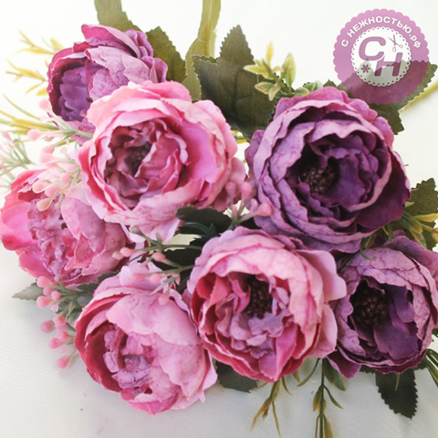 Пионы искусственные винтажные, букет 7 цветков, 33 см.