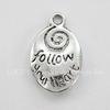 "Подвеска ""Follow your heart"" 21х14 мм (цвет - античное серебро)"