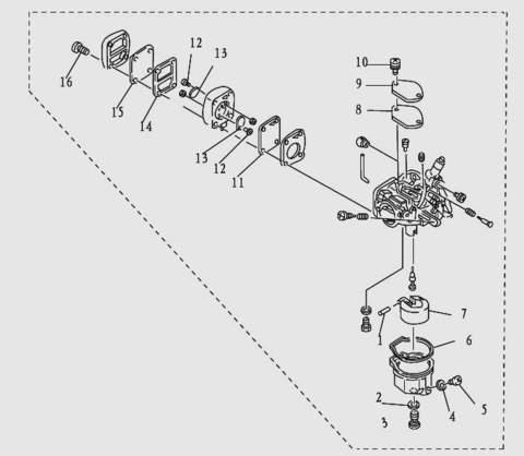 Карбюратор для лодочного мотора T9.8 Sea-PRO (5-0)
