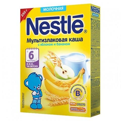 Nestlé® Молочная мультизлаковая каша с яблоком и бананом 250гр