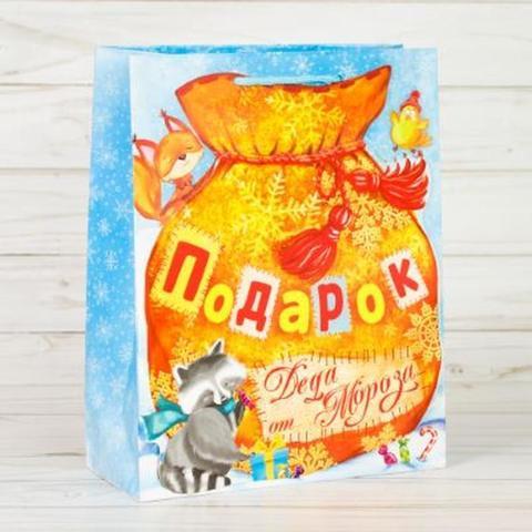 Пакет с открыткой «Новогодние подарки», 18×23×8 см