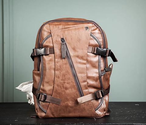 Повседневный мужской кожаный рюкзак