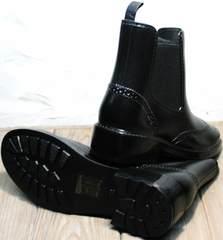 Купить женские резиновые сапоги с утеплителем низкие W9072Black.