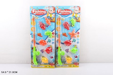 Рыбалка со спиннингом, 6 рыб (на картоне)
