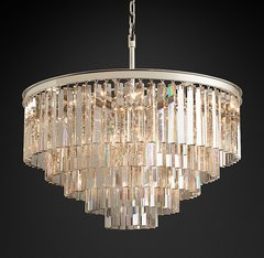 1920s Odeon Clear Glass Fringe 5-Tier Chandelier